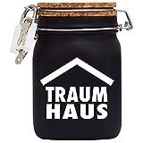 Spardose Hausbau Traumhaus Bauen Kasse das XXL Geld Geschenk in Schwarz L